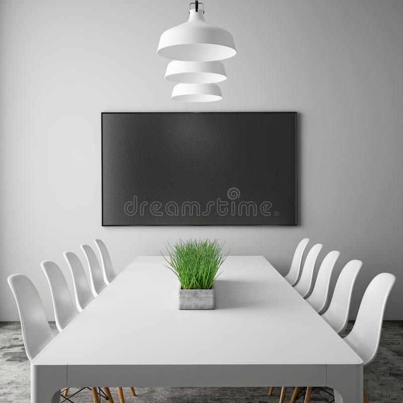 Mock up tv screen in meeting room with conference table, hipster interior background,. 3D render