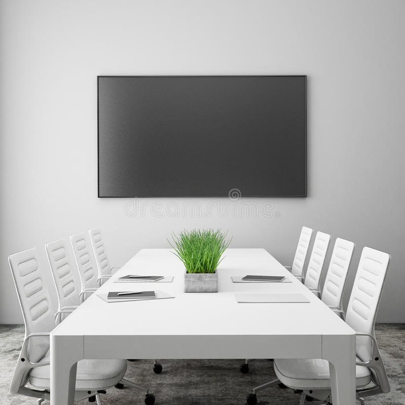 Mock up tv screen in meeting room with conference table, interior background, royalty free stock images