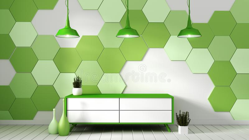 Tv shelf in modern empty room with plants on green hexagon tile background,3d rendering. Mock up Tv shelf in modern empty room with plants on green hexagon tile vector illustration