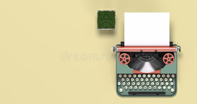 Mock up typewriter paper and pen,eyeglasses,top view on the table colorful education in front of yellow wall lovely picture for co royalty free illustration