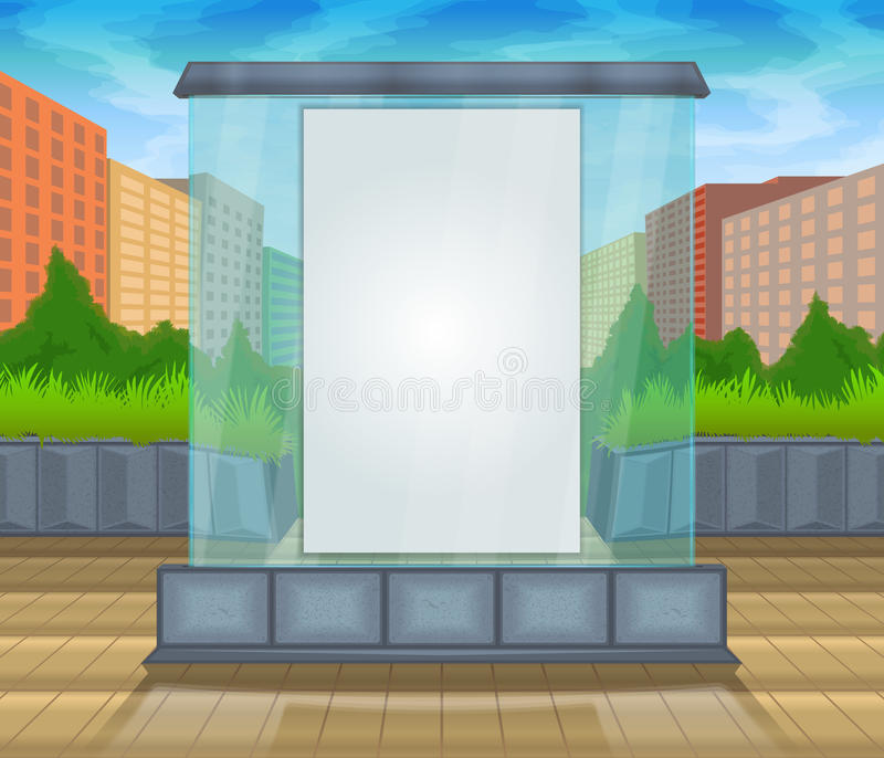 Mock up vector glass city. Vector color pattern image for placing advertising posters. Glass mock up against the backdrop of the city and trees. Mock up vector royalty free illustration