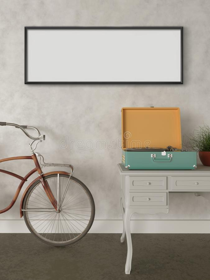 Mock up wall art, Retro hipster bicycle in living room. Retro hipster bicycle in living room, loft apartment picture frame, concrete wall, Retro style table royalty free illustration