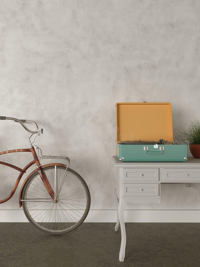 Hipster loft apartment 3D interior design. Retro bicycle, hipster loft apartment 3d interior illustration design background template record player green flower stock illustration