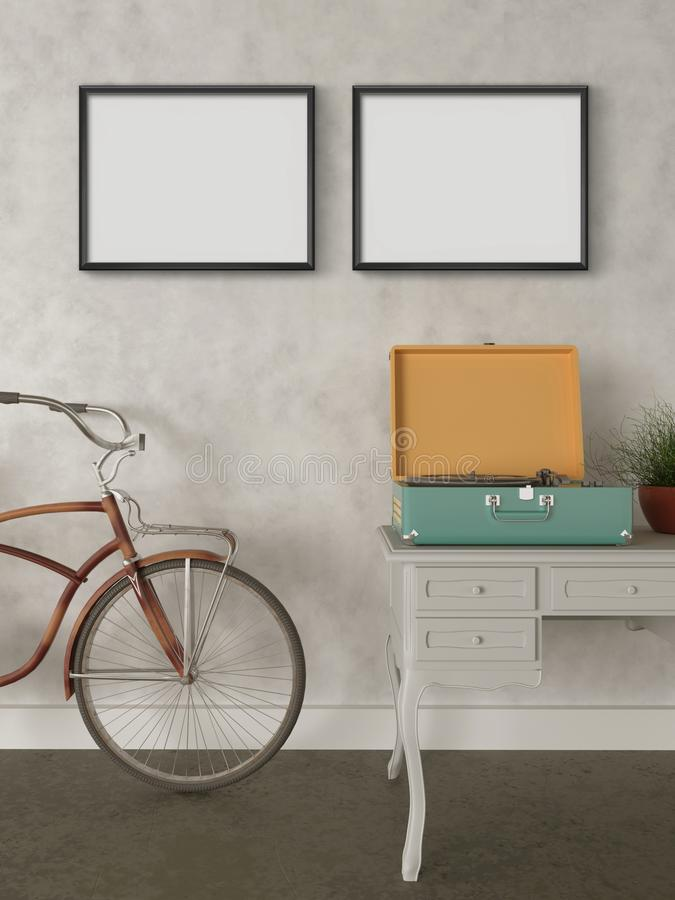 Mock up wall art, empty frames, retro hipster style house. Retro hipster bicycle in front of the wall, Retro record player, wooden table, green flower vector illustration
