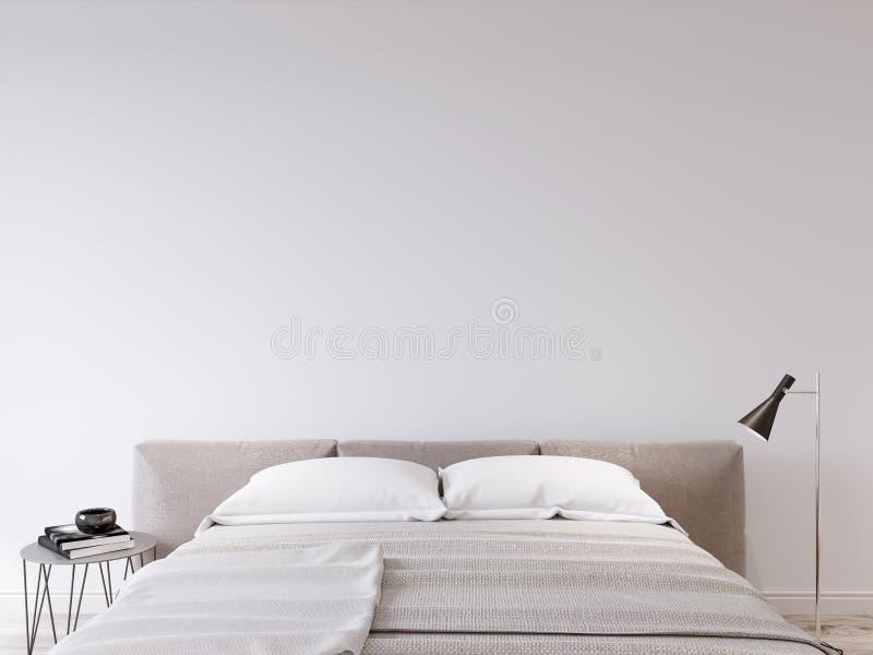 Mock up wall bedroom interior stock illustration