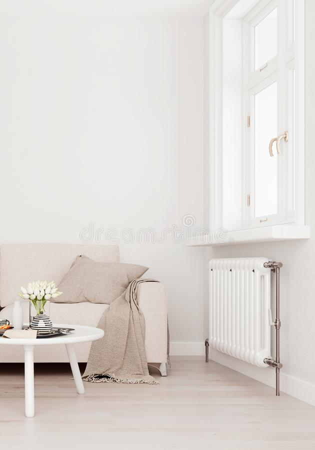 Mock up wall with beige white sofa, two tables and a chair in modern interior background, living room with large window royalty free illustration