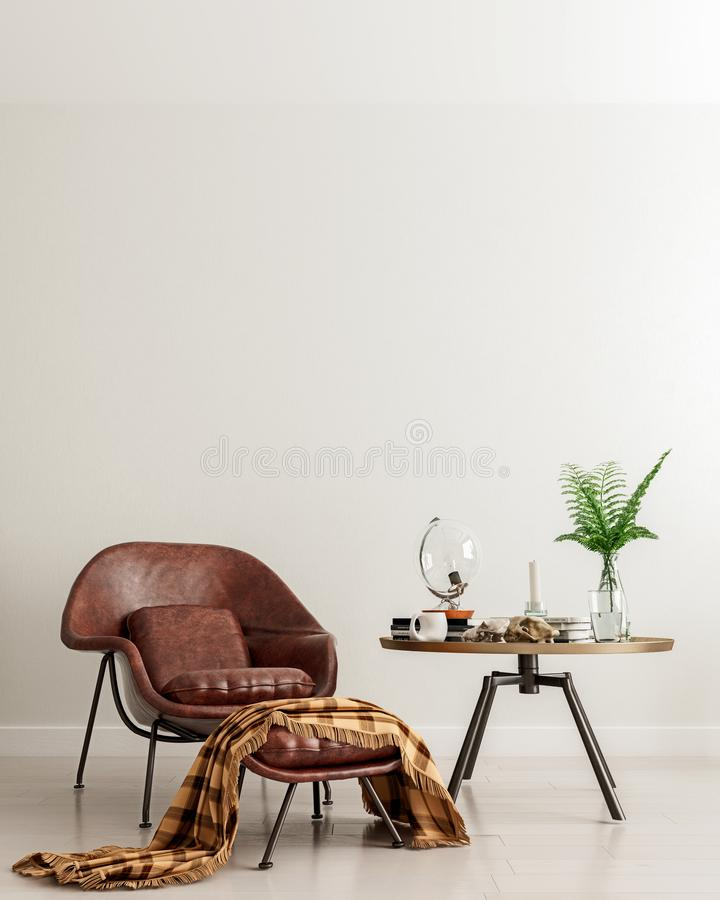 Mock up wall with brown leather chair and metal table in modern interior background, living room, moment for contemplation vector illustration