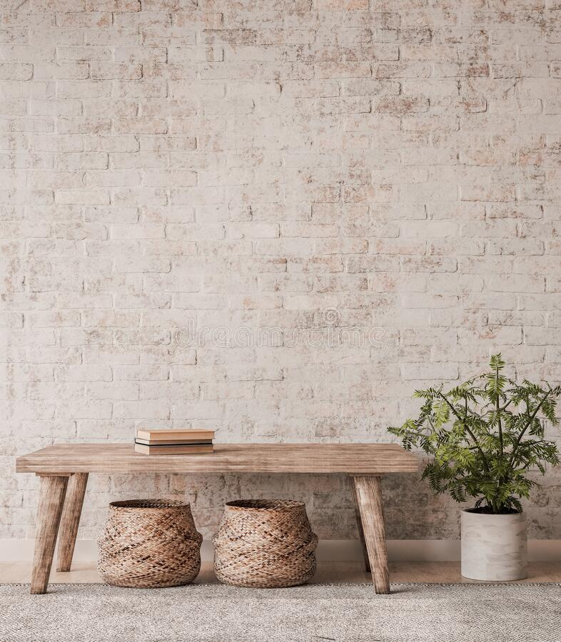 Free Mock Up Wall In Home Interior Background, Beige Room With Natural Wooden Furniture Royalty Free Stock Images - 193464469
