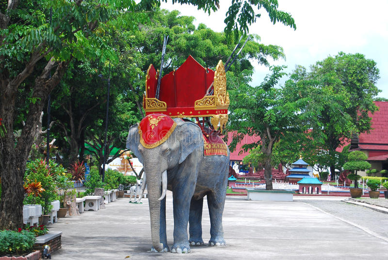 Mock up war elephant. In park royalty free stock photo