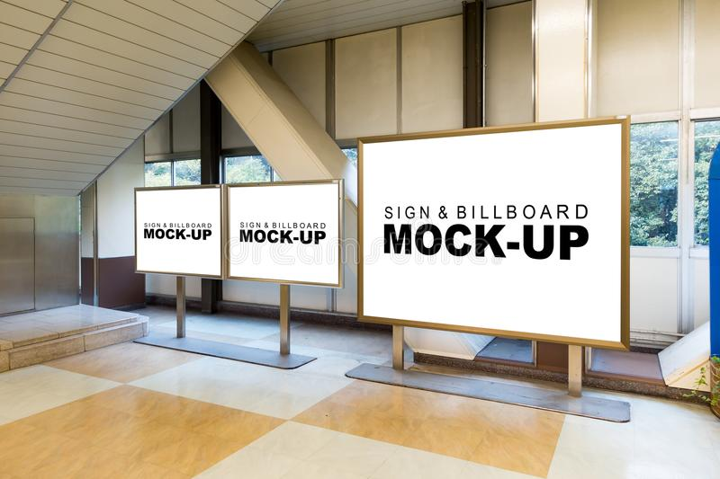 The mock up white billboard with metal frame stock photos