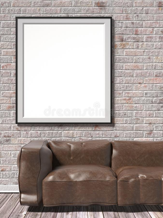 Mock up white empty picture frame with brown leather sofa. 3D royalty free illustration