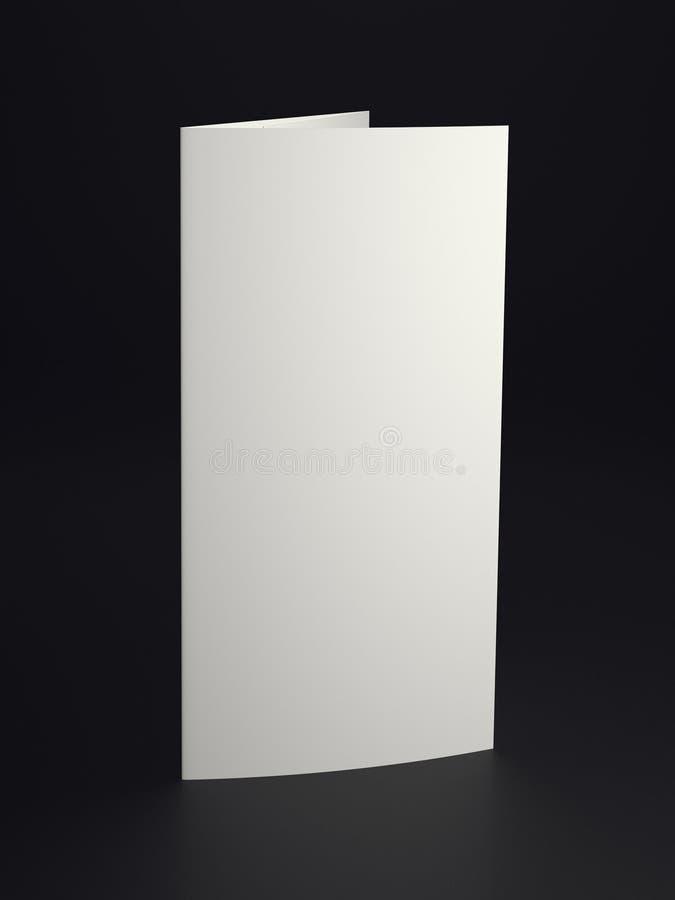Mock up white folded paper on black background. Close up royalty free illustration