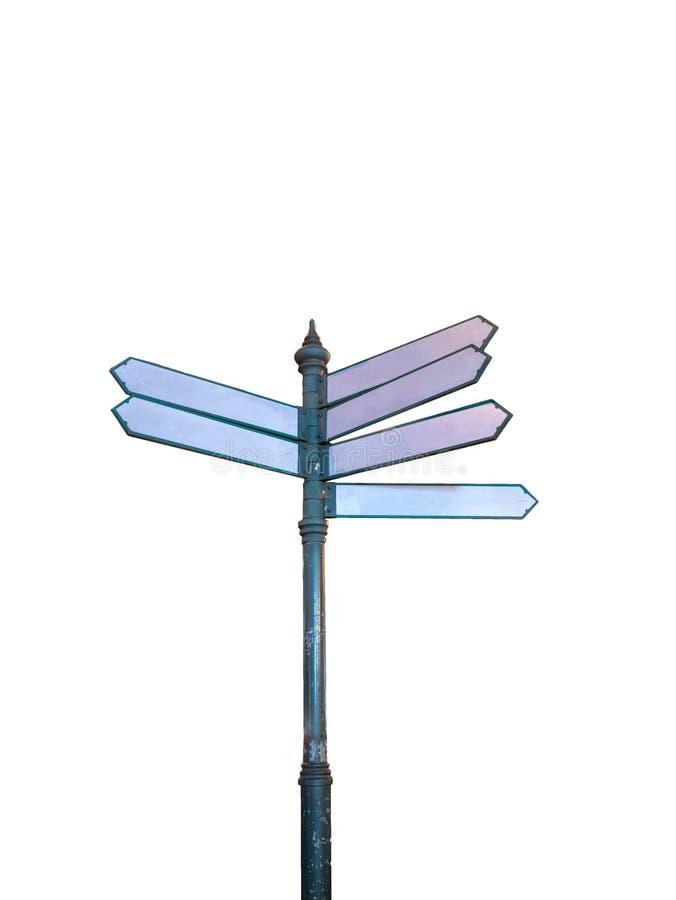 Mock up White Guidepost on isolated. Background royalty free illustration