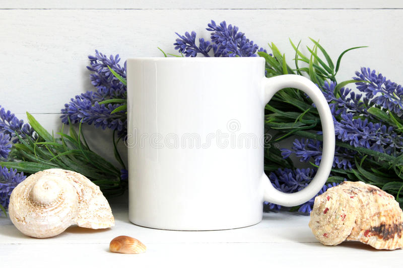 Mock-up of a white mug royalty free stock image