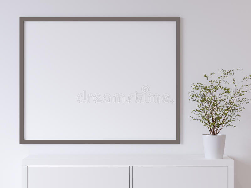 Mock up white poster wall stock illustration