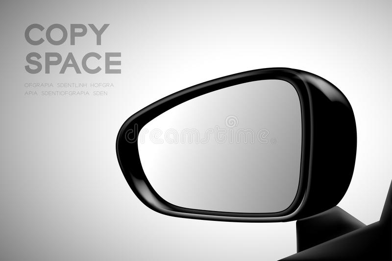 Mock-up wing mirror car view from inside illustration black color. Isolated on gradient background, with copy space royalty free illustration