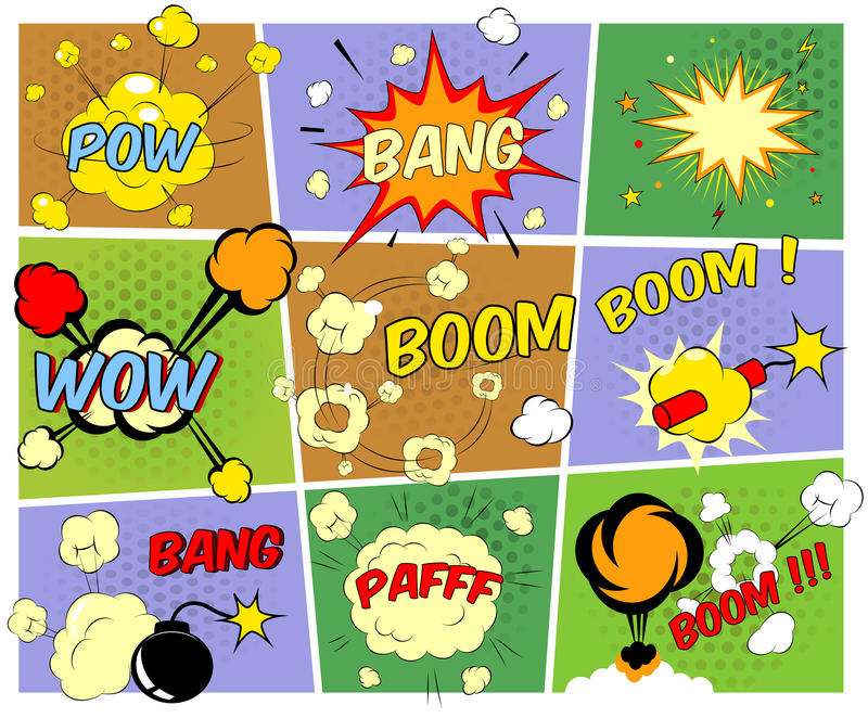 Mock-ups of comic book speech bubbles royalty free illustration