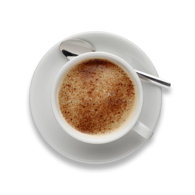 Mockakaffe som skjutas från ovannämnt på vit, med en droppskugga royaltyfria bilder