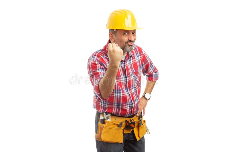 Construction worker making null gesture stock photography