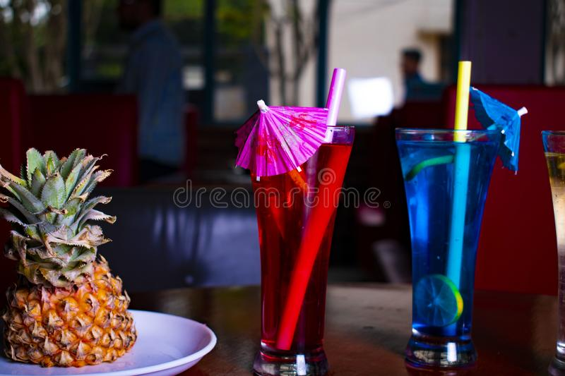 Mocktail in perfect red background with awesome color stock photo