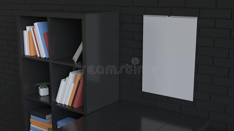 Mockup ścienny kalendarz w wnętrzu ilustracja wektor