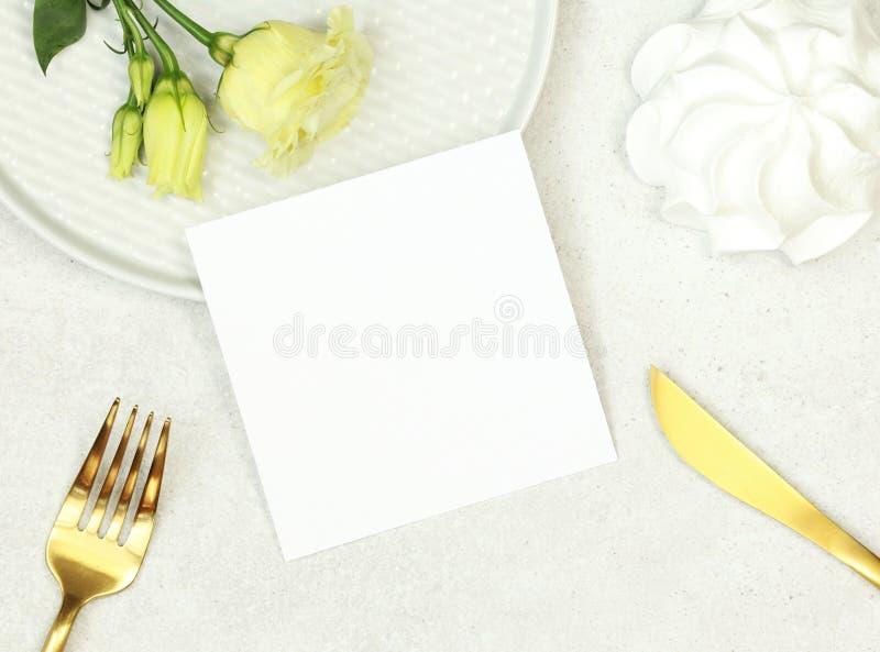 Mockup ślubu liczby karta fotografia stock