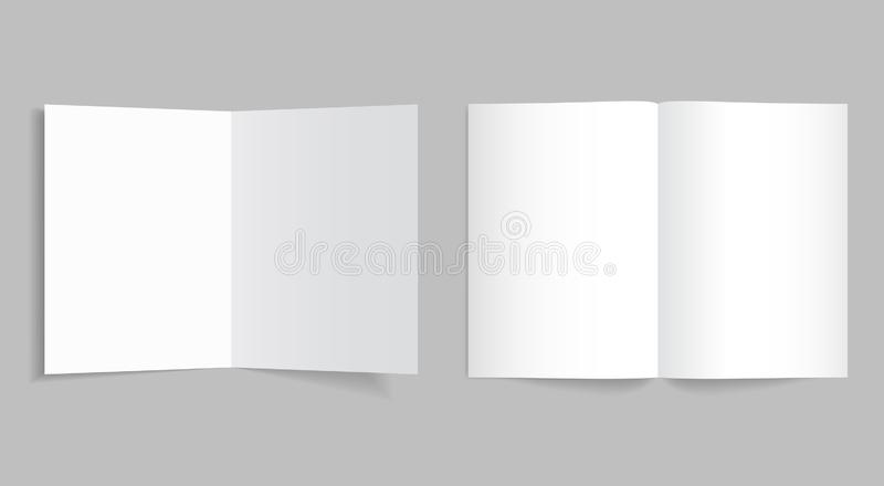 Mockup bi-fold brochure or booklet. White bifold paper cover of flyer for print with shadow. Template leaflet page format of a4, vector illustration