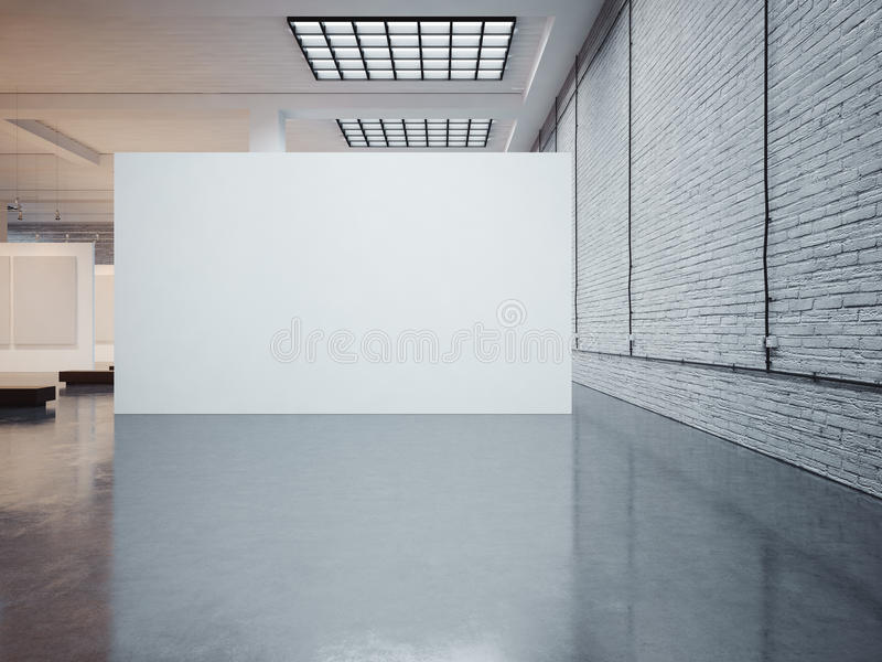Mockup of big white canvas and bricks. 3d render royalty free stock images