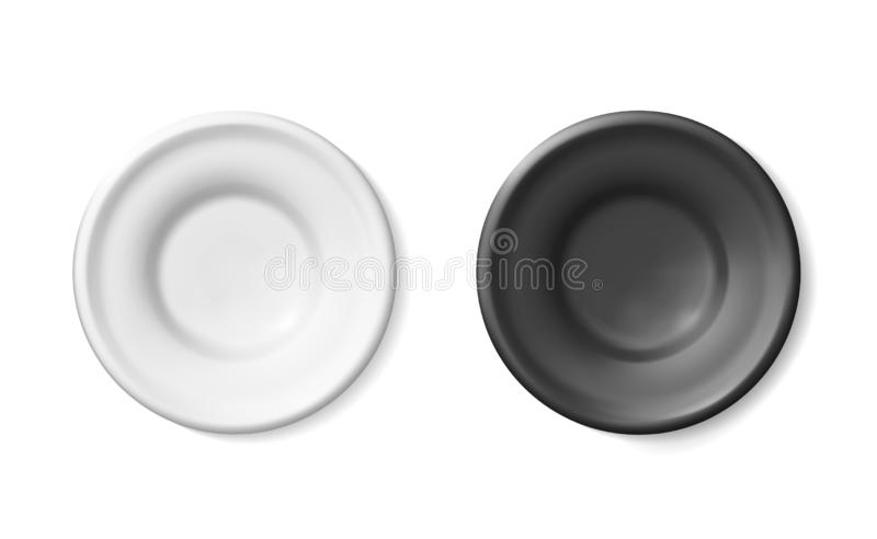 Mockup Black, White blank plates pottery of clay or glaze ceramic. Plastic detailed empty. Simple porcelain, faience bright royalty free illustration