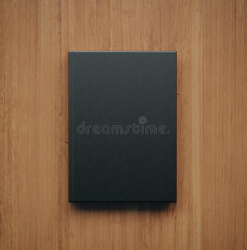 Mockup of blank classic black book. 3d rendering stock image