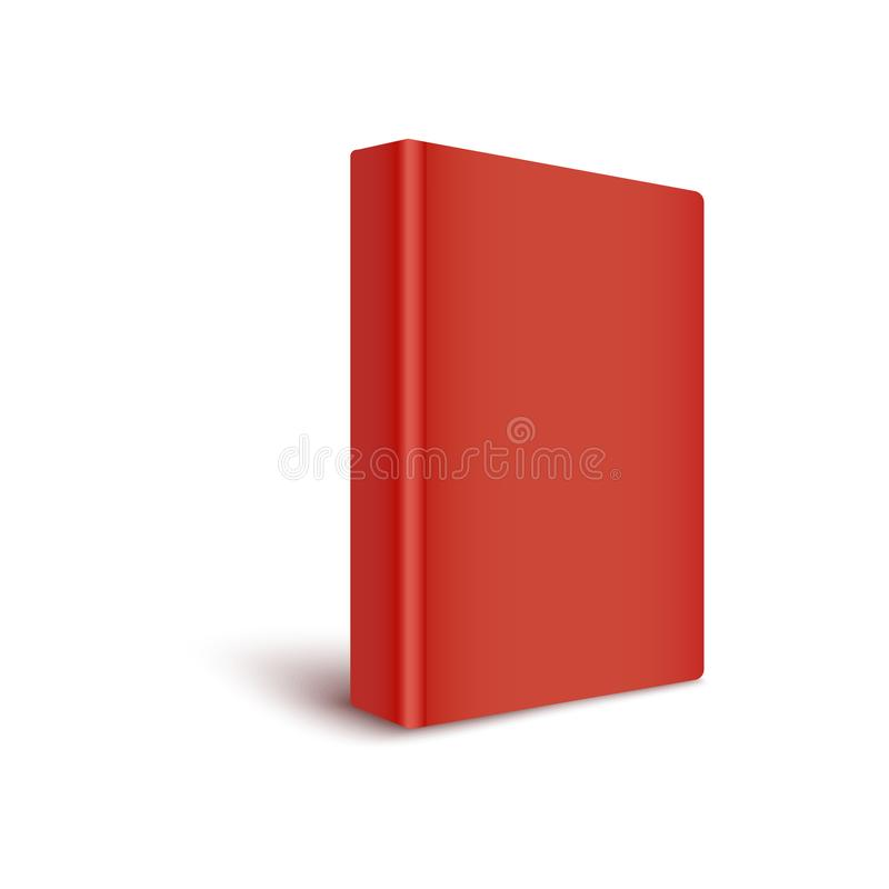 Mockup of blank red cover book stands by turning spine to front realistic style royalty free illustration