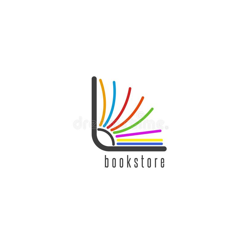 Mockup book logo, flipping colored pages of the book, emblem of the bookstore or library. Mockup book logo, flipping colored pages of the book, emblem bookstore vector illustration