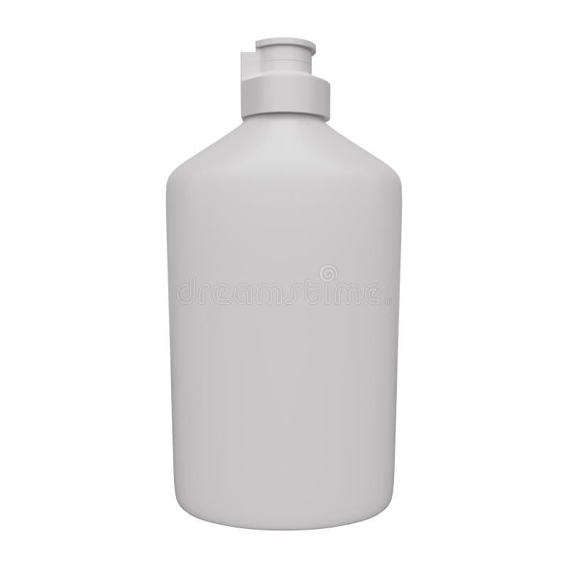 Mockup bottle for liquid detergent. 3d rendering. Mockup bottle for liquid detergent isolated on white background. 3d rendering vector illustration