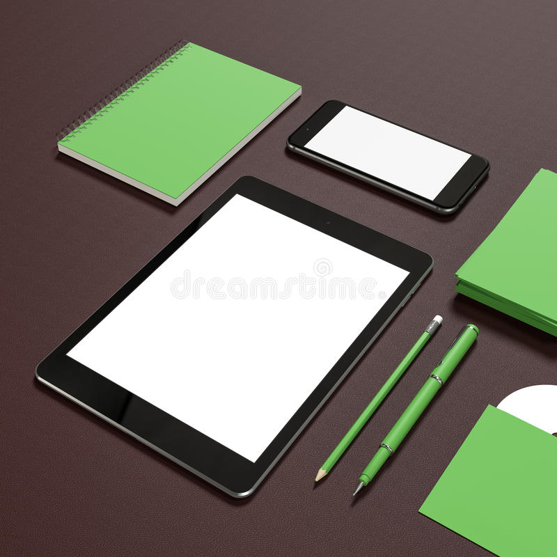 Mockup business template. Template business for branding. High resolution. 3D royalty free illustration