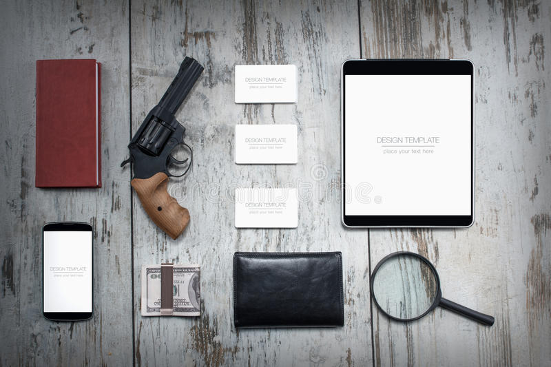 Mockup business template. Detective agency. High resolution. 3D reander stock photos
