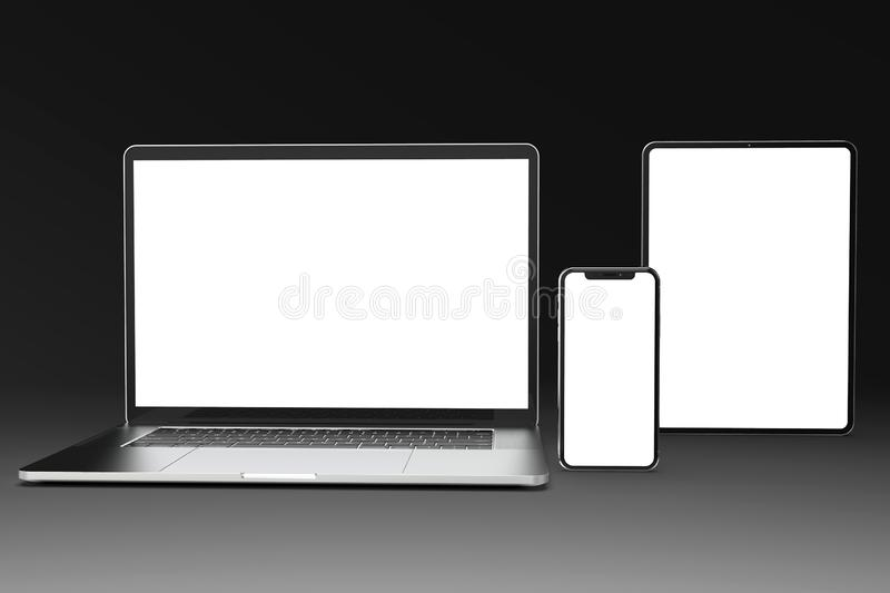 Devices for Responsive site mock-up: laptop, phone, tablet. Mockup composition for responsive web design presentation, with 3 types of devices - MacBook, iPhone vector illustration