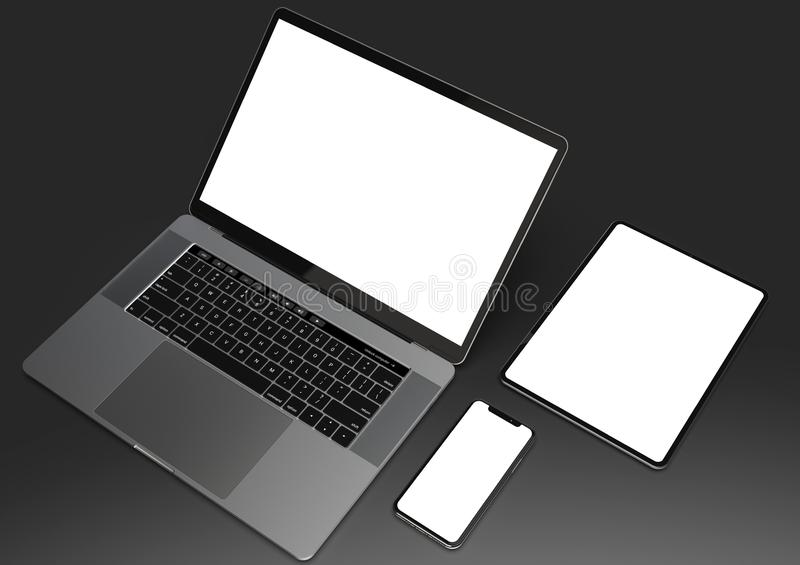 Website mock-up composition - laptop, smartphone, tablet stock illustration