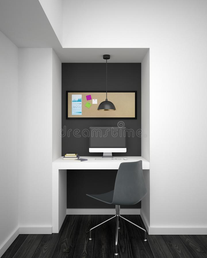 Mockup computer monitor in hipster room. Mockup black computer monitor on white desk and pinboard with post-it sticks on it in modern room with white walls. 3d vector illustration