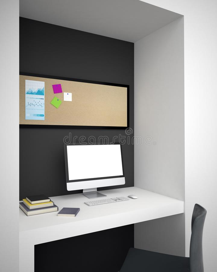 Mockup computer monitor in hipster room. Side view on white mockup computer monitor on white desk and pinboard with post-it sticks on it in modern room. 3d vector illustration