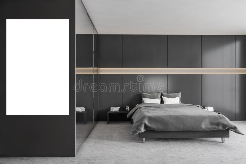 Mockup Copy Space In Dark Bedroom With Bed And Linens Marble Floor Stock Illustration Illustration Of Furniture Comfortable 208274704