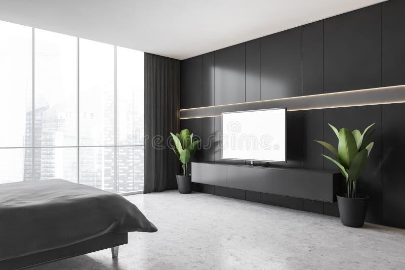 Mockup Copy Space On Tv Screen In Dark Bedroom With Bed On Marble Floor Stock Illustration Illustration Of Elegance Render 207741761