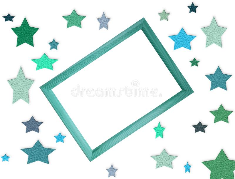 Mockup cyfrowa kartoteka z wiele kolorowymi gwiazdami drewnianą ramą i teksta lub grafiki z bezpłatną puste miejsce kopii przestr royalty ilustracja