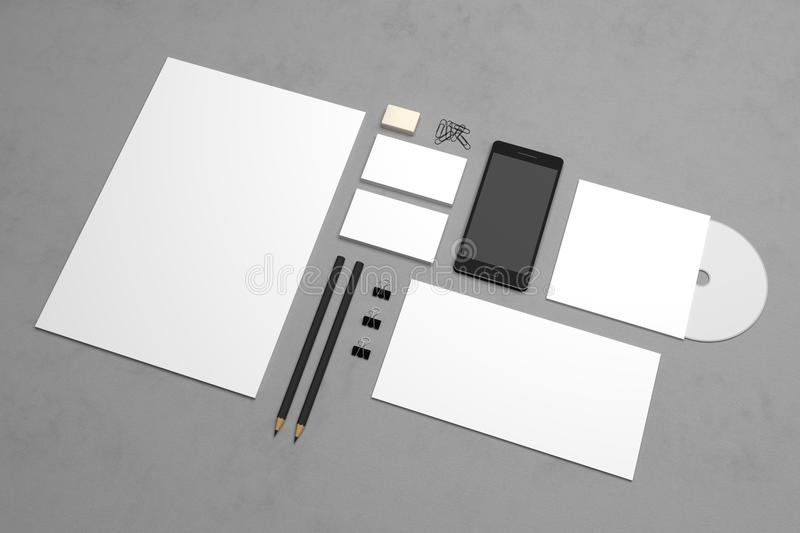 Mockup 3d rendering template with smartphone and envelopes. stock photos
