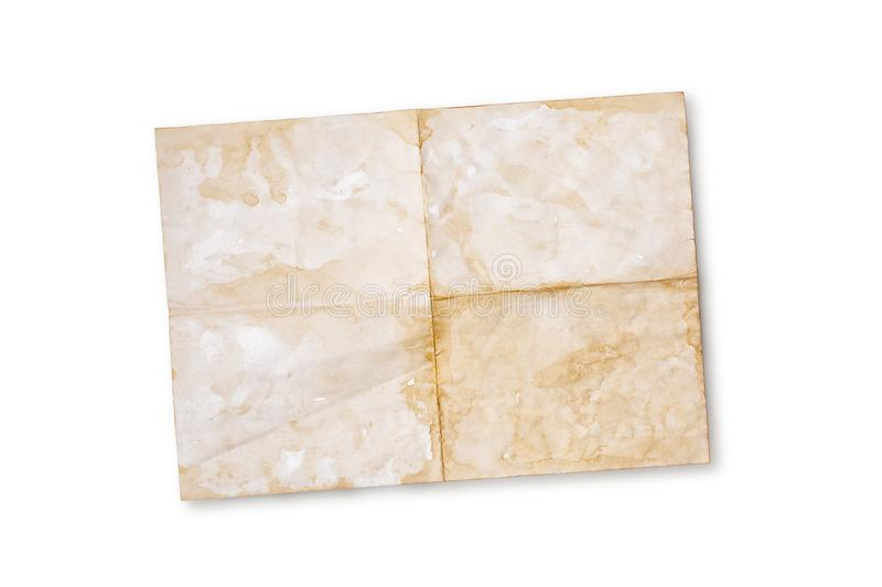 Mock up of empty old vintage yellowed paper sheet. Mockup of empty old vintage yellowed paper sheet isolated on white background stock photo