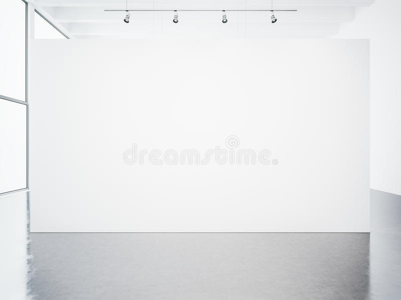Mockup of empty white gallery interior. 3d render stock photography