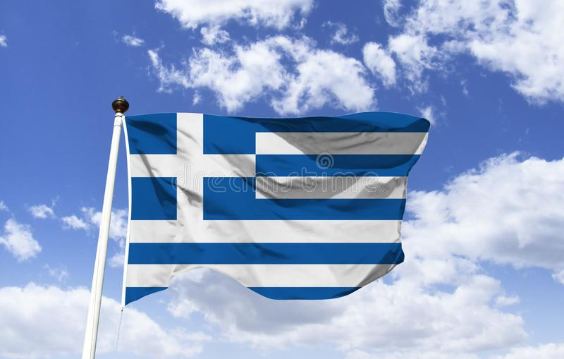 Mockup of the flag of Greece, fluttering. Under a blue sky. Country of southeastern Europe, thousands of islands scattered across the Aegean and Ionian seas stock photo