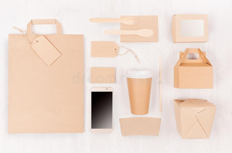 Mockup food takeaway packaging for cafe and restaurant - bag, phone, cardboard box for coffee, burger, noodles, sushi on light. Mockup food takeaway packaging stock photo