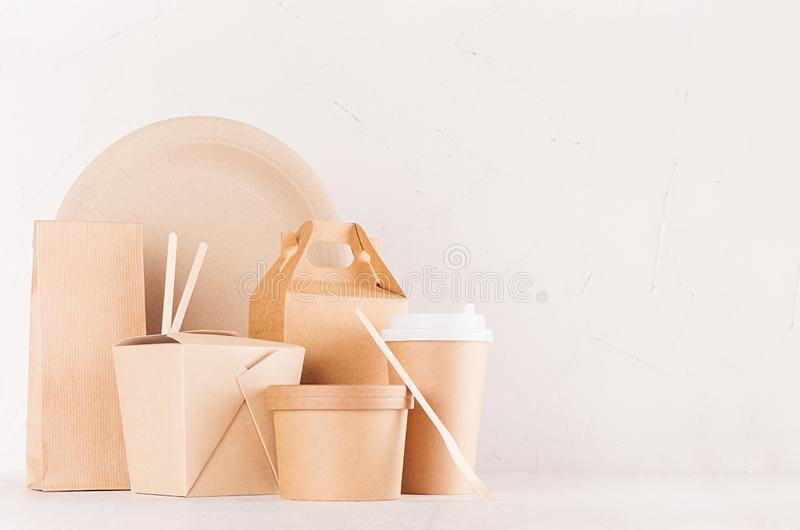 Mockup food takeaway packaging for cafe and restaurant - blank container, box, bowl for food, drink, packet, chopsticks of paper. Mockup food takeaway packaging stock image