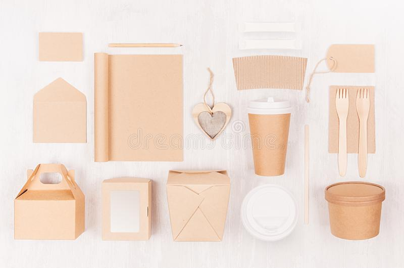 Mockup food takeaway packaging for cafe and restaurant - cardboard box for coffee, burger, noodles, sandwich, sushi on light wood. Mockup food takeaway stock photos