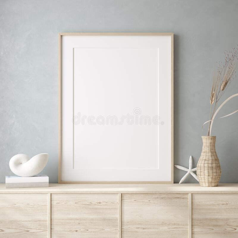 Free Mockup Frame Close Up In Coastal Style Home Interior Background Stock Photo - 190030570